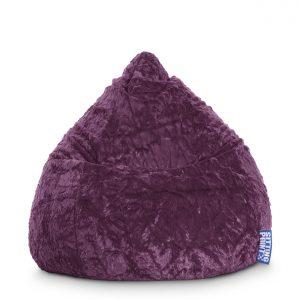 Beanbag Fluffy L aubergine 2 | SittingPoint | SittingBags.nl
