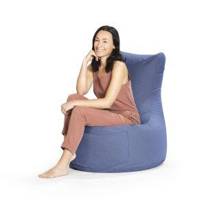Zitzak stoel blauw premium vrouw