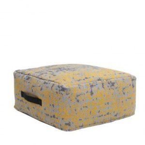 Vierkante Poef Vintage Geel