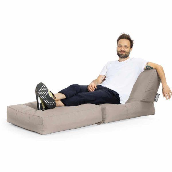 lounge zitzak stoel khaki achterkant